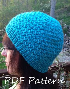 """Knitting PATTERN - Double Seed Stitch Knit Hat. Sizes: Toddler~ 18""""/45cm, Child~ 20""""/50cm, Adult~ 22ʺ/55cm."""