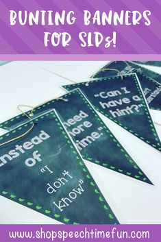 Bunting Banners for SLPs - functional decor perfect for speech and language therapy. Explains what speech is, has prompts for students to advocate and ask for help, and more! Perfect for bulletin boards or just wall decor to spice up a small therapy space.