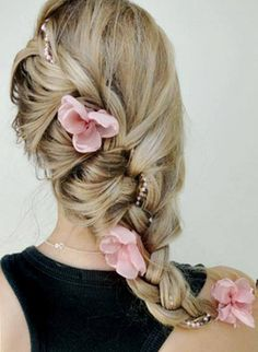 Bride's long loose diagonal French braid bridal hair ideas Toni Kami Wedding Hairstyles ♥ ❶ Pink flowers flower accents maybe for flower girl Romantic Hairstyles, Pretty Hairstyles, Braided Hairstyles, Wedding Hairstyles, Hairstyle Ideas, Amazing Hairstyles, Homecoming Hairstyles, Style Hairstyle, Plaited Hairstyle