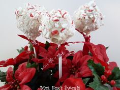 White Peppermint Cake Pops.. but use candy canes for the sticks