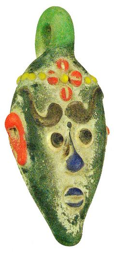 "Phoenician. Green glass face pendant with red, yellow, and orange features. Completely made from fused pieces of glass. Loop at the top for wearability. Earthen patina. 400-200 BC (2 ½"")"