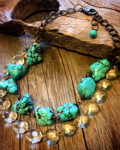 Chunky Turquoise Statement Necklace Country Cowgirl Western Accessories ~Joellie Boutique jewelry collection was featured@ CMT Music Awards in the Celebrity Gift bags and backstage at the George Jones Tribute! Now available to you! If you love Turquoise like me you will LOVE this