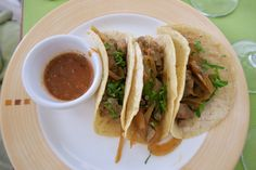 It's taco Sunday! Beef on a corn tortilla over avocado and caramelized onions with a side of roasted tomato sauce. Part of the food treats on our Apple Vacation trip to Mexico!