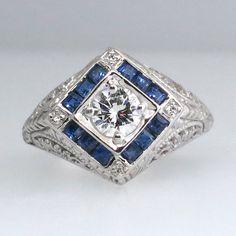 Large Elaborate Estate Hand Engraved Diamond by YourJewelryFinder, $1875.00