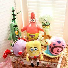 6pcs/set SpongeBob Plush Toys Kids Cartoon Movie Characters Christmas Birthday  Toys Stuffed & Plush Animals Christmas Gifts