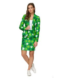Adulte me porter Piggy Back irlandais LEPRECHAUN Lass Patricks Day Costume Robe Fantaisie