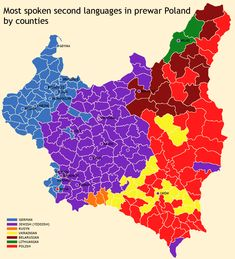 Most Spoken Second Languages in prewar Poland by Counties : MapPorn Alternate History, Second Language, Historical Maps, History Facts, Coat Of Arms, Family History, Rugs On Carpet, Planer, Abstract