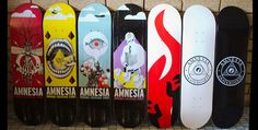 The new artist series by Steve Tierney features 4 new designs by the CLS Crew veteran. There are also 3 new logos boards to get your shred on with. You can find all these decks in your local skate shop and also via the AMNESIA  online shop.