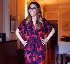 Sporting a graphic Zero + Maria Cornejo dress for Vaunte photoshoot in my apartment
