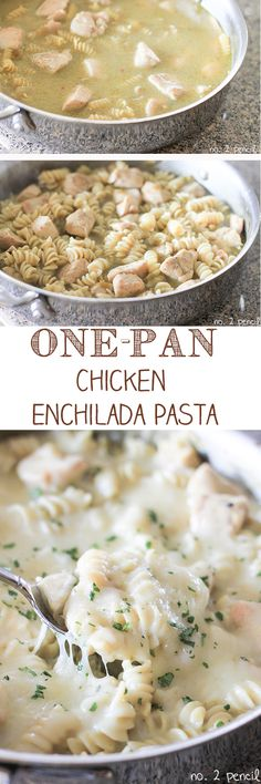 One-Pan Chicken Enchilada Pasta - fire-roasted green chilies, sour cream and jack cheese. This recipe is a must try!