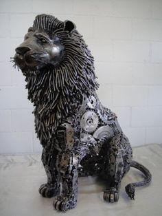 lion figure statue scrap metal art life size: