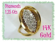 14K Gold ~ Sparkling 1.25 Cts Diamond Cluster Cocktail Ring ~ Virginia Estate - FREE SHIPPING
