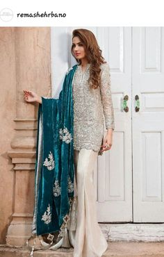 Make a statement this festive season in an all-silver outfit teamed with an embellished teal velvet shawl Pakistani Wedding Outfits, Pakistani Dresses, Indian Dresses, Indian Outfits, Pakistani Party Wear, Pakistani Bridal, Indian Attire, Indian Wear, Party Kleidung