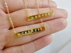 gold initial bar necklace personalized . $45.00, via Etsy. I love this!!!!