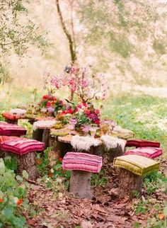 Add colorful and comfortable cushions to log benches around a larger log tree stump table to hold your own outdoor garden tea party!  Upcycle, recycle, repurpose, salvage!  For ideas and goods shop at Estate ReSale & ReDesign, Bonita Springs, FL