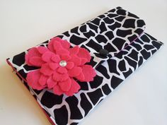 CASH ENVELOPE WALLET with Dividers --for use with the Dave Ramsey System-- Black Giraffe- Ready to ship