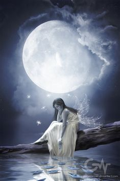 beautiful pics of loneliness Foto Fantasy, Fantasy Magic, Fantasy Kunst, Fantasy Girl, Beautiful Fantasy Art, Beautiful Moon, Beautiful Fairies, Fairy Pictures, Angel Pictures
