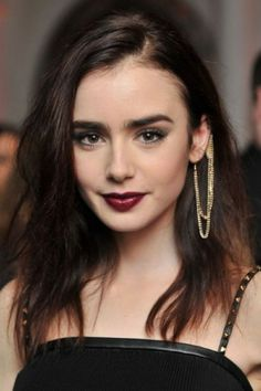 Lily Collins with ear cuff