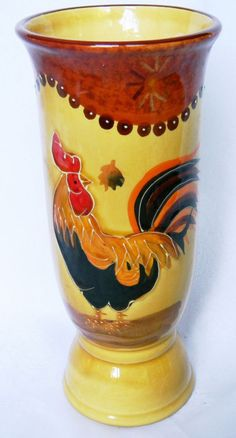 Hand-Painted Embossed Rooster Art Pottery Ceramic Vase (No Maker's Mark)