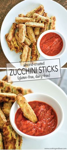 Almond-Crusted Zucchini Sticks are gluten-free and dairy-free. They are the perfect afternoon snack, quick lunch or weeknight dinner recipe!   www.cookingandbeer.com