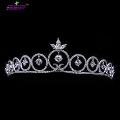 Dangle AAA CZ Tiara Bridal Wedding Hair Accessorie Jewelry Pageant Crown TR15010 #SEP #Tiara