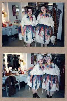 """Behold, these awesome pictures of Tina Fey and her friend Cady Garey as """"pinheads"""" in a production of The Elephant Man at the University of Virginia in 1991."""