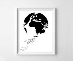 Paper plane, paper plane print, world map, heart, black word map, black heart, black paper plane print, nursery printable decor,