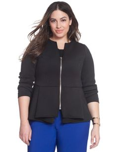 Love this jacket/pant combo!! Scuba Zip Jacket from .eloquii.com