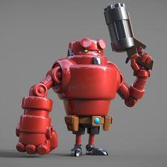 Cool Robot Designs by Steve Talkowski - Adorable little Hellboy