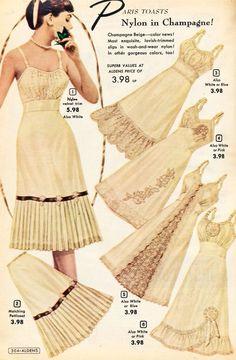 what-i-found: Aldens Catalog - Slips, Panties and Jayne Mansfield& Pajamas! Moda Retro, Moda Vintage, Vintage Mode, Vintage Slip, Vintage Sewing, Lingerie Retro, Jolie Lingerie, Lingerie Slips, 1950s Style