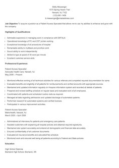 sample patient access specialist resume