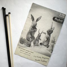 A really unusual vintage bunny rabbit knitting pattern. This lovely set even has the bunnies veggies to knit as well!