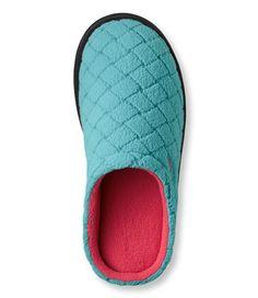 Women's Fleece Slipper Scuffs, Quilted