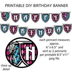 MONSTER HIGH BIRTHDAY BANNER Printable DIY Monster Theme Birthday Banner by onelovedesignsllc, $15.00