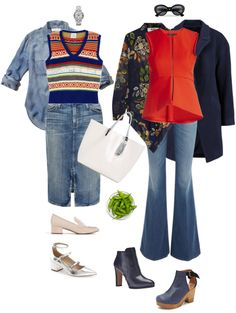 Ensemble: Top, Sweater Vest & Denim Skirt - YLF.