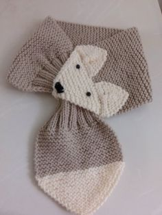 Hand Knit Fox Scarf ,Beige/ Lace neck warmer