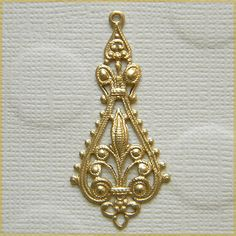 Raw Brass Filigree Ornate Earring Dangle by DecadentBrassGlass