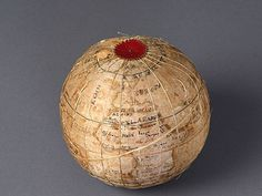 Globe embroidered by a girl from Westtown school, Pennsylvania (In Stitches: Unraveling Their Stories exhibition)
