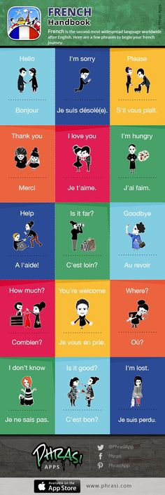 Educational infographic : French Handbook  Fun and easy way to learn french while travelling !