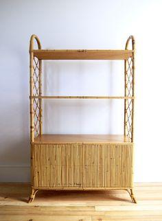 Vintage wicker, rattan and bamboo bookshelves 1