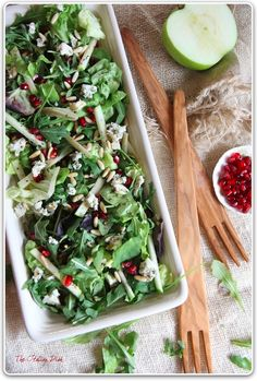 Salad of Apples, Pomegranate, Gorgonzola and Pine Nuts. TOP WITH BALSAMIC!!