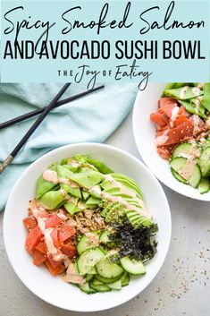 Spicy Smoked Salmon and Avocado Sushi Bowl Recipe — Registered Dietitian Columbia SC - Rachael Hartley Nutrition Smoked Salmon Sushi, Smoked Salmon Recipes, Spicy Salmon, Avocado Recipes, Salmon Avocado, Avocado Sushi Recipe, Smoked Salmon Appetizer, Salmon Food, Salad Recipes