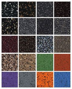 Rubber Flooring Swatches - design your new home gym, commercial gym, basement or doggy day care in style with these eye catching color choices in durable rubber roll, tile and mat flooring.