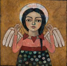 """Heartstrings"" acrylic painting by Teresa Kogut #angel #art"