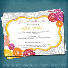 Love is in Bloom Floral Damask Shower Invite by Tipsy Graphics. Any colors and text.. $16.00, via Etsy.