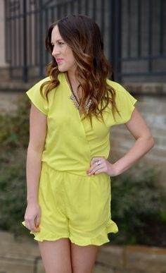 Ruffle Forever Romper in Chartreuse