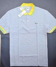 NWT Lacoste Men's Regular Fit Brazilian Croc Gray Polo Shirt S Eur 4