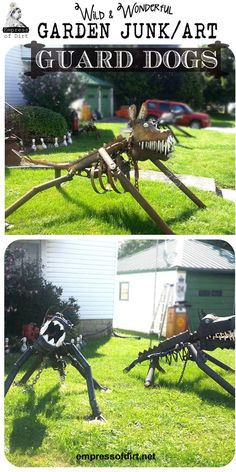 Junk art dogs made from old auto parts - repurposed garden art decor