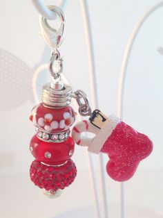 Christmas Stocking Zipper Pull, European Large Hole Beads, Purse Charm, Charm for Cosmetic Bag, Stocking Stuffer