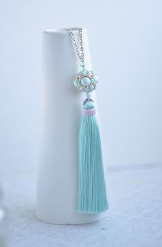 Long Tassel necklace Chain necklace Boho Jewelry Long beaded necklace Womans gift Blue tassel necklace pink bead becklace Boho necklace #beadedjewelry